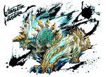 blue_eyes copyright_name electricity fur glowing glowing_eyes horns inkblot monster monster_hunter no_humans ryuuta_(ipse) scales zinogre