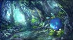 antennae forest grass highres nature no_humans outdoors pippi_(pixiv_1922055) pokemon pokemon_(creature) river rock solo tree venonat water