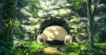 cave claws diglett grass highres looking_up lying nature no_humans on_back outdoors pippi_(pixiv_1922055) plant pokemon pokemon_(creature) rock sleeping snorlax tree  _ 