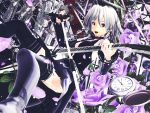 1girl black_legwear blush guitar highres instrument kurogoma_(meganegurasan) mikumikudance solo touhou watch