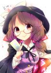 1girl bow brown_eyes brown_hair cape clothes_writing glasses hat hat_bow highres long_sleeves low_twintails plaid red-framed_glasses school_uniform shirt short_hair skirt smile solo touhou twintails usami_sumireko uta_(kuroneko) zener_card