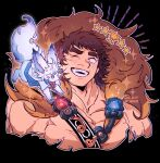 1boy bangs bare_pecs blush brown_hair chest_harness creature cropped_torso fate/grand_order fate_(series) feather_boa fou_(fate) gameplay_mechanics harness holy_grail_(fate) large_pectorals male_focus mature_male messy_hair muscular muscular_male night27260 one_eye_closed orion_(super_archer)_(fate) short_hair smile solo teeth thick_eyebrows