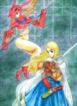 2girls armor blonde_hair cape dragoon_(fft) final_fantasy final_fantasy_tactics gloves kikimimi_612 knight_(fft) long_hair multiple_girls sword weapon