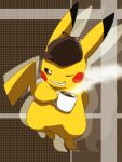 coffee commentary_request cup detective_pikachu full_body great_detective_pikachu:_the_birth_of_a_new_duo hat mug no_humans pikachu pokemon pokemon_(creature) smile solo