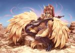 1girl barbariank bare_shoulders blue_eyes breasts brown_hair cleavage dark_skin feathered_wings gandharva harpy instrument jewelry midriff monster_girl monster_girl_encyclopedia navel pointy_ears ponytail sitar smile solo tail talons wings