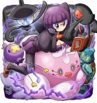 1girl bob_cut book breasts cleavage drifloon glasses gloves golett jellicent lampent pantyhose pen pokemoa pokemon pokemon_(creature) pokemon_(game) pokemon_bw purple_hair purple_skirt shikimi_(pokemon) short_hair skirt smile yamask