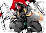 1boy building daison hood hoodie horn kamen_rider kamen_rider_ghost kamen_rider_ghost_(series) ore_damashii satellite squatting
