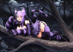 1girl animal_ears argyle argyle_legwear barbariank bare_shoulders bell black_hair bow breasts cat_ears cat_tail cheshire_cat_(monster_girl_encyclopedia) claws cleavage facial_mark forest grin hair_bow heart high_heels in_tree jingle_bell large_breasts long_hair looking_at_viewer lying monster_girl_encyclopedia multicolored_hair nature night paws purple_hair skirt slit_pupils smile solo striped_tail tail teeth thigh-highs tree two-tone_hair yellow_eyes