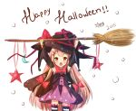 1girl :o arms_up black_hat bow broom child dress hair_ribbon halloween hat long_hair mony open_mouth original pink_hair purple_dress red_eyes ribbon solo white_background witch_hat