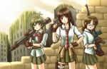 3girls ammunition_belt bazooka blue_eyes blush bow bowtie brick_wall brown_eyes brown_hair clothes_around_waist coppelion fingerless_gloves fukasaku_aoi glasses gloves green_eyes green_hair green_skirt gun hand_on_hip handgun holster looking_at_viewer loose_necktie mauser_c96 multiple_girls naruse_ibara necktie nomura_taeko outdoors parted_lips plaid plaid_skirt pleated_skirt red_necktie rifle ruins shirt skirt sleeves_rolled_up smile sniper_rifle striped striped_bow striped_bowtie striped_necktie tacoyaki thigh_holster weapon white_shirt worried