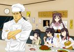 >:) 1boy 4girls ^_^ akagi_(kantai_collection) black_eyes black_hair bow bowl braid brown_eyes brown_hair chef_hat chef_uniform chicken_(food) chopsticks closed_eyes commentary_request crossed_arms crossover dumpling eating food food_on_face hair_bow hair_ornament hair_ribbon hairpin hakama hat holding japanese_clothes jiaozi k2 kaga_(kantai_collection) kantai_collection kappougi kitakami_(kantai_collection) long_hair mamiya_(kantai_collection) multiple_girls muneate real_life ribbon rice_on_face rice_spoon school_uniform serafuku side_ponytail single_braid steven_seagal tonkatsu translation_request