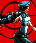 1girl breasts brown_hair gloves gun hat jill_valentine resident_evil short_hair solo weapon