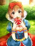 1girl apple bow brown_eyes brown_hair cosplay dress food fruit hagiwara_yukiho hair_bow idolmaster restaint short_hair snow_white snow_white_(cosplay) snow_white_and_the_seven_dwarfs solo