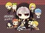 >_< absurdres artist_name aya_(421ura) black_gloves black_hair black_sclera blonde_hair blue_eyes blue_hair box chibi clenched_teeth closed_eyes coat crossed_legs curly_hair dated formaggio gelato ghiaccio glasses gloves green_hair grey_hair heart highres illuso jar jojo_no_kimyou_na_bouken mask melone one_eye_closed open_mouth orange_eyes orange_hair pants pesci prosciutto quin_tails red_eyes risotto_nero sitting smile sorbet striped striped_background striped_pants teeth violet_eyes