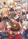 6+girls :d anchor anchor_hair_ornament apron bismarck_(kantai_collection) blonde_hair blue_eyes blush book bowl breasts cake carrot cat chocolate covered_navel crop_top dress flower food graf_zeppelin_(kantai_collection) green_eyes hair_flower hair_ornament heart highres kantai_collection large_breasts long_hair low_twintails military military_uniform multiple_girls musical_note no_hat onion oota_yuuichi open_mouth partially_translated ponytail prinz_eugen_(kantai_collection) redhead ro-500_(kantai_collection) sailor_collar sailor_dress school_swimsuit short_hair sideboob silver_hair smile spoken_flower spoken_heart spoken_musical_note spoken_sweatdrop sweatdrop swimsuit swimsuit_under_clothes tan tanline translation_request twintails uniform unsinkable_sam z1_leberecht_maass_(kantai_collection) z3_max_schultz_(kantai_collection)