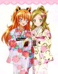 2girls blue_eyes bow braid brown_hair cowboy_shot double_bun floral_print green_eyes hair_bow half_updo highres houjou_hibiki japanese_clothes kagami_chihiro long_hair looking_at_viewer minamino_kanade multiple_girls pink_bow precure smile suite_precure two_side_up v white_background