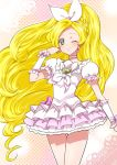 1girl blonde_hair bow braid brooch choker cowboy_shot cure_rhythm earrings frilled_skirt frills green_eyes hair_bow jewelry kagami_chihiro long_hair looking_at_viewer magical_girl minamino_kanade one_eye_closed precure skirt smile solo suite_precure white_bow white_skirt wrist_cuffs