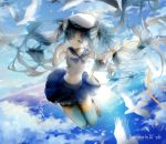 1girl ;) animal artist_name backlighting beret bird blue_eyes blue_hair blue_ribbon blue_skirt bow brown_shoes finger_to_mouth floating_hair full_body gloves hair_bow hat hatsune_miku highres horizon loafers long_hair midriff motion_blur navel neckerchief ocean one_eye_closed orange_ribbon outdoors reflection ribbon sa'yuki sailor_collar school_uniform serafuku shirt shoes single_glove skirt sleeveless sleeveless_shirt smile solo stomach sunlight thigh-highs tsurime twintails very_long_hair vocaloid water white_feathers white_gloves white_hat white_legwear white_shirt zettai_ryouiki