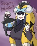 1girl al_bhed_eyes animal_pelt artist_name bags_under_eyes breasts brian_libunao cosplay crossover english fingernails hex_maniac_(pokemon) indivisible lampent lantern long_fingernails long_hair nail_polish pokemon pokemon_(creature) pokemon_(game) pokemon_xy purple_hair raikou razmi_(indivisible) razmi_(indivisible)_(cosplay) solo tiger_pelt violet_eyes