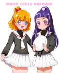 2girls :d asahina_mirai black_shirt blonde_hair bow cardcaptor_sakura copyright_name cosplay cowboy_shot hair_bow half_updo hat hat_removed headwear_removed izayoi_liko kagami_chihiro long_hair looking_at_viewer mahou_girls_precure! multiple_girls open_mouth pink_bow pleated_skirt precure purple_hair school_uniform serafuku shirt short_hair skirt smile violet_eyes white_background white_hat white_skirt