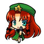 aqua_eyes braid chibi china_dress chinadress chinese_clothes hat high_kick hong_meiling kick kicking long_hair open_mouth red_hair redhead simple_background socha solo touhou twin_braids