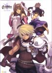 ar_tonelico ar_tonelico_i armor aurica_nestmile bare_shoulders belt black_hair blue_eyes braid brown_hair cape gloves gust highres long_hair lyner_barsett misha_arsellec_lune nagi_ryou official_art scan sword twin_braids weapon