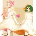 bad_id blonde_hair blue_eyes bow dress earrings green_hair hair_bow hand_holding holding_hands jewelry kurage long_hair macross macross_frontier multiple_girls ranka_lee red_eyes ribbon sheryl_nome short_hair