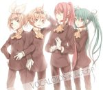 aqua_hair bad_id blonde_hair cosplay formal glasses gloves hair_ornament hair_ribbon hairclip hatsune_miku kagamine_len kagamine_rin long_hair megurine_luka muska muska_(cosplay) pant_suit pink_hair ponytail ribbon short_hair siblings smile suit tenkuu_no_shiro_laputa tetsuo twins twintails vocaloid white_gloves