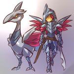 1boy armor costume hitec male moemon personification pokemon pokemon_(creature) pokemon_(game) pokemon_gsc skarmory sword weapon wings