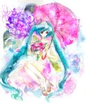 bad_id blue_eyes dress emiru flower hatsune_miku high_heels long_hair melt_(vocaloid) shoes traditional_media twintails umbrella very_long_hair vocaloid watercolor watercolor_(medium)