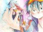 cape hands kamina simon tehryu tengen_toppa_gurren_lagann traditional_media watercolor watercolor_(medium)