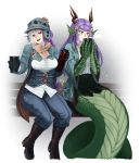 2girls :d adapted_costume barbariank bench boots brown_eyes drinking gloves gradient_hair hat head_fins highres horns lamia long_hair looking_at_viewer mad_hatter_(monster_girl_encyclopedia) magatama monster_girl monster_girl_encyclopedia multicolored_hair multiple_girls open_mouth paws purple_hair ryuu_(monster_girl_encyclopedia) scarf sitting smile snowing steam thermos two-tone_hair white_hair yellow_eyes