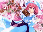 1girl 3d chocolate english highres kurogoma_(meganegurasan) mikumikudance saigyouji_yuyuko solo touhou valentine