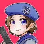 1girl blue_eyes brown_hair highres jill_valentine resident_evil sashimin☆ short_hair solo upper_body