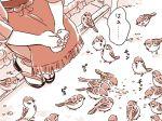 1girl bird comic mitsumoto_jouji monochrome mystia_lorelei okamisty solo sparrow touhou translation_request