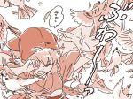 1girl animal_ears bird bird_wings comic feathers mitsumoto_jouji monochrome mystia_lorelei okamisty solo sparrow touhou translation_request wings