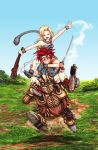 1boy 1girl ayla_(chrono_trigger) blonde_hair blue_sky breasts carrying chrono_trigger cleavage clenched_teeth closed_eyes club crono grass green_eyes headband koh_(oab71kq3) mountain neckerchief open_mouth redhead robo robot running shoulder_carry sky smile sweatdrop sword teeth toriyama_akira_(style) weapon wristband