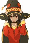 1girl bangs black_hair cape frown gloves hat red_eyes red_shirt shirt so-bin solo tagme tunic witch_hat