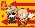 2boys artist_name bald black_sclera blonde_hair boots cape chibi copyright_name cyborg directional_arrow earrings genos gloves jewelry kotorai male_focus mechanical_arms multiple_boys one-punch_man outline red_boots red_gloves running saitama_(one-punch_man) signature yellow_eyes