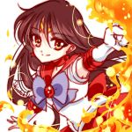 1girl alternate_eye_color bishoujo_senshi_sailor_moon black_hair bow brooch choker cowboy_shot earrings elbow_gloves fire gloves hino_rei jewelry long_hair looking_at_viewer lowres magical_girl purple_bow pyrokinesis red_eyes red_skirt sailor_collar sailor_mars shirataki_kaiseki signature skirt smile solo star star_earrings tiara white_background white_gloves