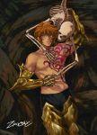 1boy armor brown_hair death green_eyes highres leo_aiolia saint_seiya saint_seiya:_soul_of_gold shirtless short_hair solo zaionic