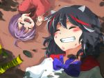 2girls ahoge black_hair blush commentary grin highres horns injury kapiten70 kijin_seija lying minigirl multicolored_hair multiple_girls on_back on_ground on_side open_mouth purple_hair redhead smile streaked_hair sukuna_shinmyoumaru touhou white_hair