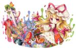 1girl blonde_hair book box brush cardboard_box controller cookie dress fire_extinguisher food hair_ribbon hat hat_ribbon highres key ladder lantern long_hair marker_(medium) mob_cap potato_chips racket red_eyes remote_control ribbon rubber_duck shuttlecock smile socha solo tabard teapot tennis_racket touhou traditional_media tress_ribbon very_long_hair white_dress wide_sleeves yakumo_yukari
