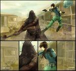 1girl breasts brown_hair fingerless_gloves gloves gun jill_valentine resident_evil resident_evil_5 short_hair weapon zombie
