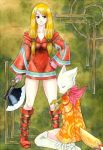 2girls axe black_eyes blonde_hair boots breasts final_fantasy final_fantasy_tactics geomancer_(fft) gloves hat kikimimi_612 long_hair mime_(fft) multiple_girls twintails weapon
