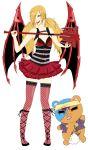 demon_wings fiona_(mabinogi) fishnets kumagai lann_(mabinogi) mabinogi mabinogi_heroes mace momiji_(binbougami_ga!) twintails weapon wings