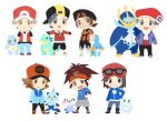 6+boys backwards_hat baseball_cap beanie black_eyes black_hair brown_eyes calme_(pokemon) chibi croconaw dewott empoleon froakie gold_(pokemon) hand_in_pocket hand_on_hip hat jacket kouki_(pokemon) kyouhei_(pokemon) male_focus mudkip multiple_boys oshawott pokemon pokemon_(creature) pumpkinpan red_(pokemon) red_(pokemon)_(remake) smile standing sunglasses sunglasses_on_head tan touya_(pokemon) visor_cap wartortle yuuki_(pokemon) yuuki_(pokemon)_(remake)