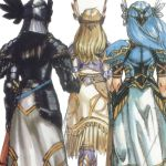 3girls armor armored_dress blonde_hair blue_hair braid feathers gloves helmet hrist_valkyrie lenneth_valkyrie long_hair lowres multiple_girls official_art siblings silmeria_valkyrie silver_hair sisters tagme valkyrie valkyrie_profile very_long_hair white_background