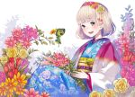 1girl ao_no_exorcist blonde_hair colorful flower green_eyes hair_flower hair_ornament holding holding_flower japanese_clothes kimono moriyama_shiemi nii_(ao_no_exorcist) open_mouth sheep_sleep short_hair simple_background sitting smile