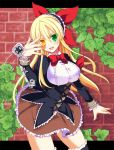 1girl :d blonde_hair bow brick_wall brown_skirt chuunibyou cowboy_shot eyepatch eyepatch_removed flower_knight_girl frills green_eyes hair_ribbon hairband heterochromia impossible_clothes ivy ivy_(flower_knight_girl) leaf letterboxed long_hair looking_at_viewer nachisuke_(nachi_comic) object_namesake open_mouth red_bow red_ribbon ribbon skirt smile solo virgin_killer_outfit yellow_eyes